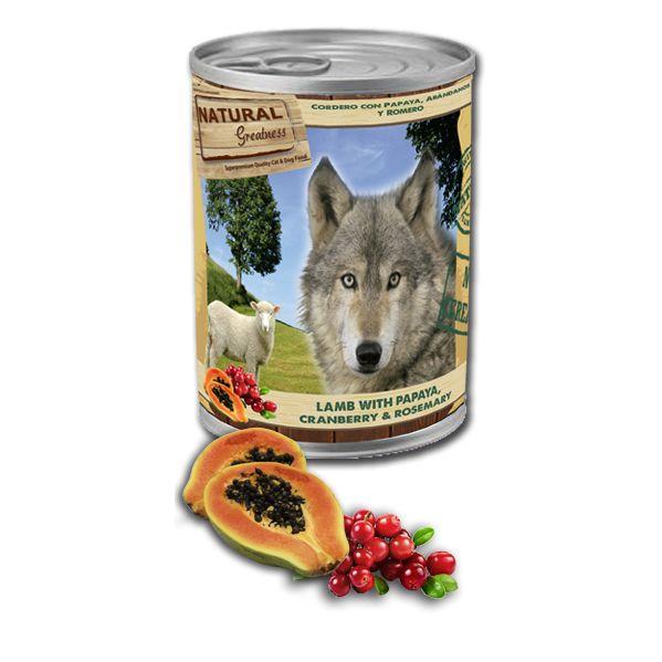 Ração Húmida Natural Greatness Lamb & Papaya & Cranberry 400g