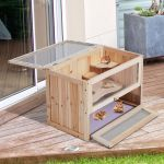 HomCom Gaiola de Madeira de Hamster 60x35x42cm