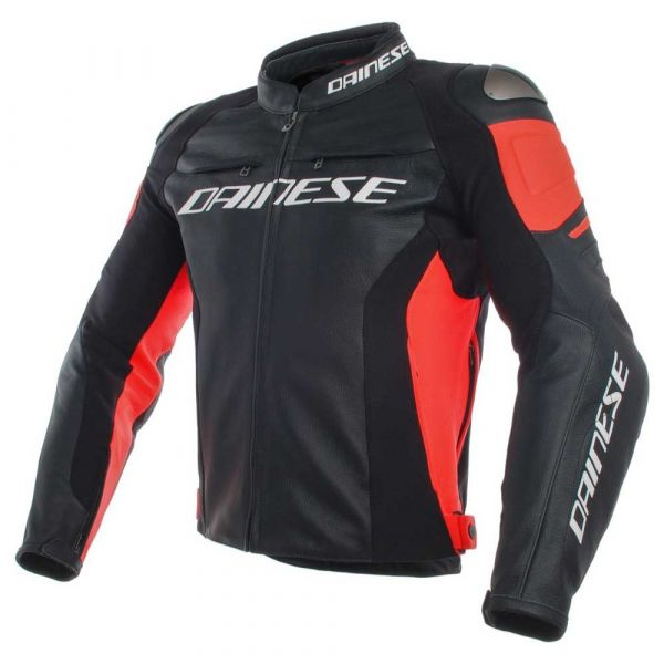 Dainese Casaco Racing 3 Black Black Fluo Red