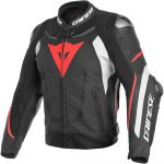 Dainese Casaco Super Speed 3 Performance Leather Black / White / Fluo Red