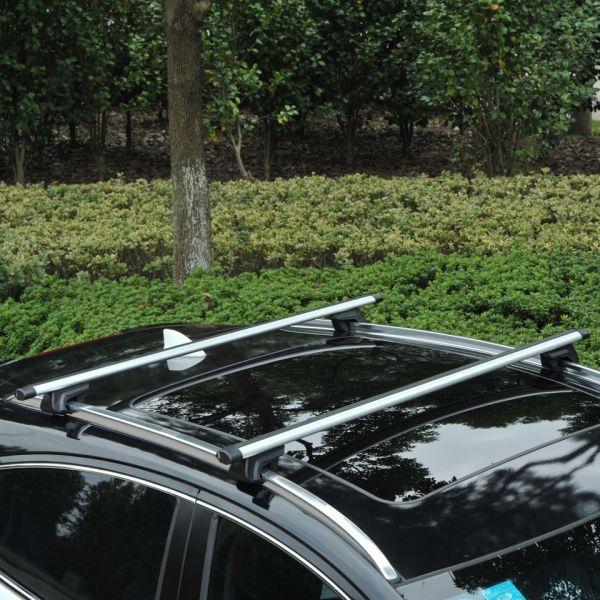 HomCom Barras de Tejadilho Universal com Chave Alumínio Prata 135 cm