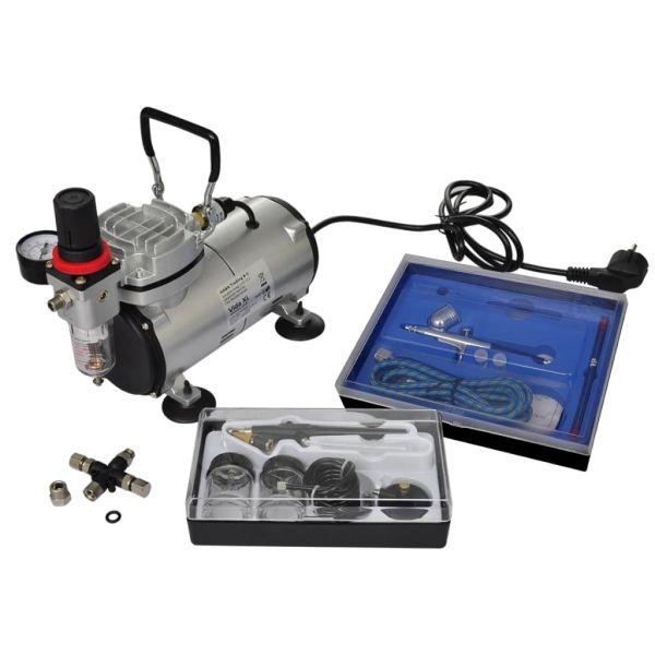 VidaXL Conjunto de Compressor de Ar com 2 Aerógrafos - 140283