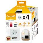 Garza Home Regleta Ladrón Base Múltiple Cubo 4 Tomadas e Interruptor + 2 usb e Cable de 1,5 Metros. Color Blanco