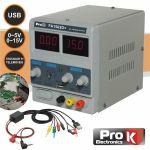 ProK Electronics Fonte de Alimentação Digital 0-15V / 0-2A