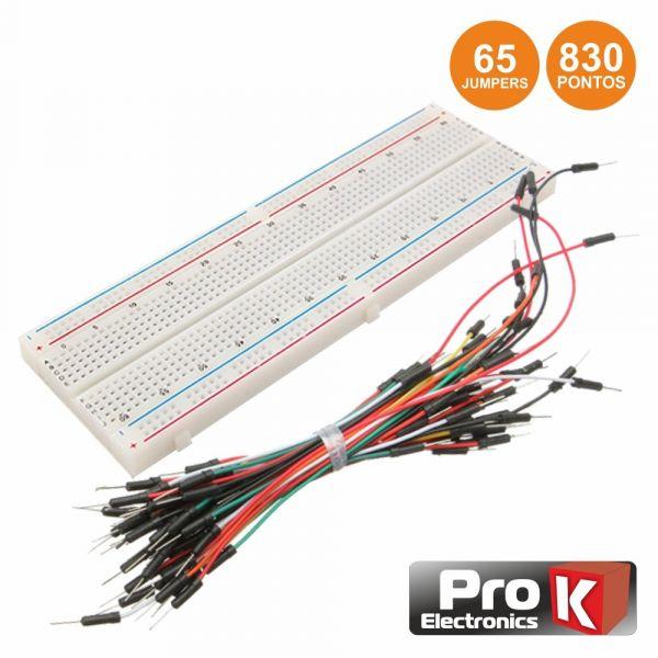 Prok Electronics Placa de Ensaio Multifunções com 830 Pontos 65 Jumpers - PKBB830J65