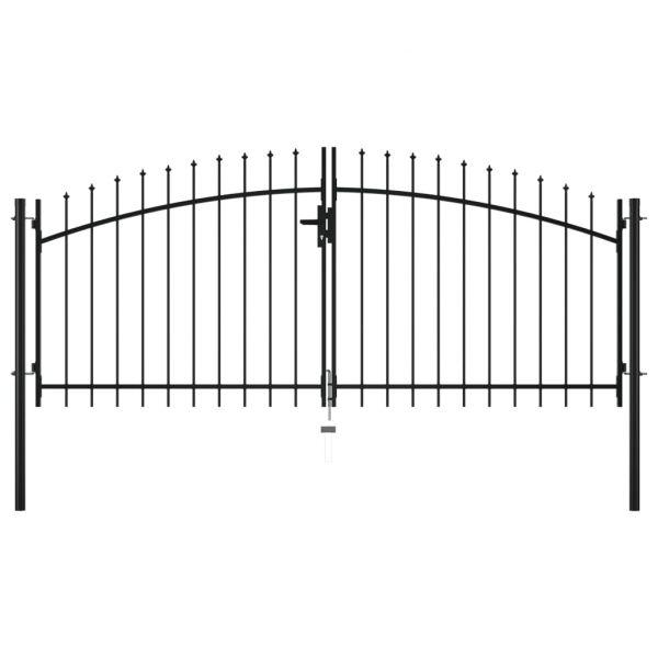 Portão de Cerca com Porta Dupla e Topo em Lanças 300x150 cm - 144359