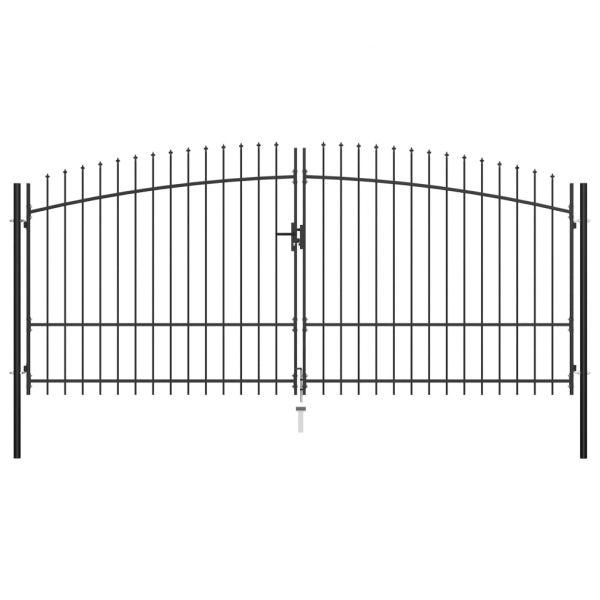 vidaXL Portão de Cerca com Porta Dupla e Topo em Lanças 400x225 cm - 145741