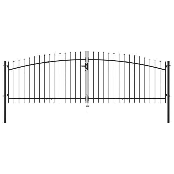vidaXL Portão de Cerca com Porta Dupla e Topo em Lanças 400x200 cm - 145740