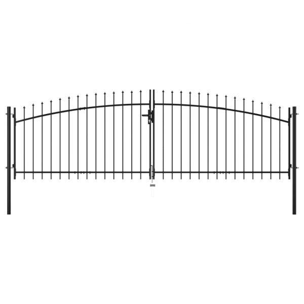 vidaXL Portão de Cerca com Porta Dupla e Topo em Lanças 400x175 cm - 145739