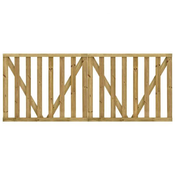 vidaXL Portões de Jardim em Ripas 2 Peças 150x120 cm Pinho Impregnado - 49200