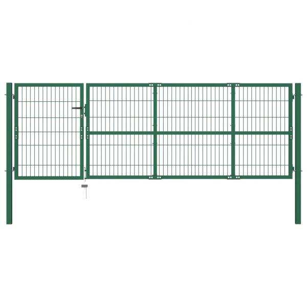 Portão para Cerca de Jardim com Postes 350x100 cm Aço Verde - 142569