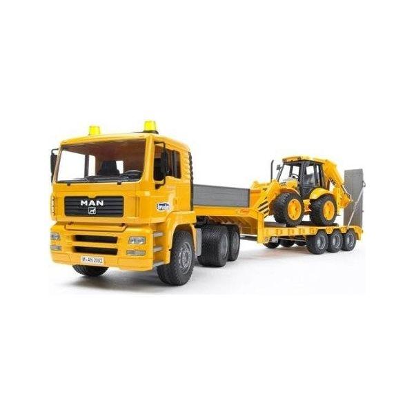 Bruder MAN TGA Camião de Transporte com Zorra e com Retroescavadora - 02776