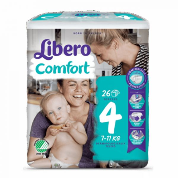 Fraldas Libero Comfort Fit Tamanho 4 8x26 un.