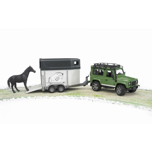 Bruder Land Rover Defender Station Wagon com reboque + cavalo - 02592