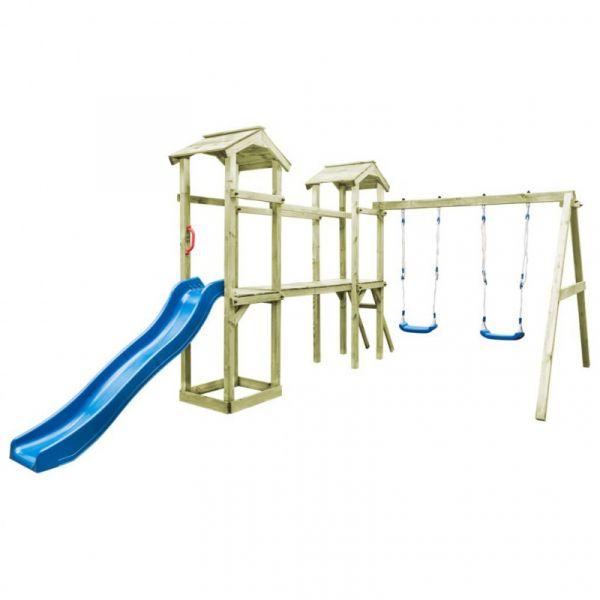 Casa Brincar + Escada Escorrega Baloiço 252x432x218 cm Madeira