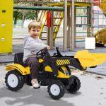 Homcom Trator Pedal + Pá Frontal 3 a 6 Anos Carga 35kg 114x41x52cm Aço e Plástico