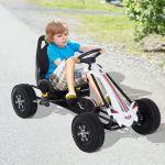 HomCom Carro de Pedais Go Kart Racing de Aço Branco e Preto