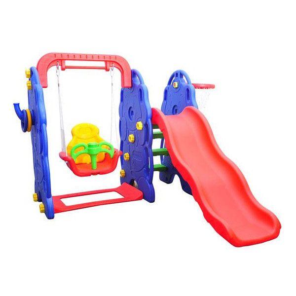 HomCom Baloiço com escorrega e tabela de basquetebol para crianças - Plástico - 167x164x120cm