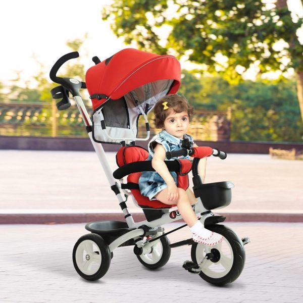 Homcom Triciclo de Bebé Dobrável 4 em 1 Trolley Trike Bicicletas para Crianças +18 M