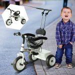 Triciclo Infantil com Capota - Branco - Ferro, Plástico e Tecido - 103 X 47 X 101 cm