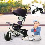 Triciclo para Crianças com Capota Roxo e Branco Ferro, Plástico e Tela- 92 X 51 X 110 cm