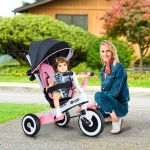 Homcom Triciclo Bebê Dobrável 4 em 1 Trolley Trike Bicicletas para Crianças +18 M
