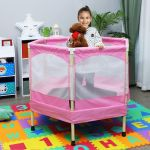 HomCom Trampolim Infantil com Rede de Segurança 50 Kg 126x109x98cm Rosa