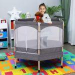HomCom Trampolim Infantil 3-12 Anos com Rede de Segurança 50 Kg 126x109x98cm Cinza
