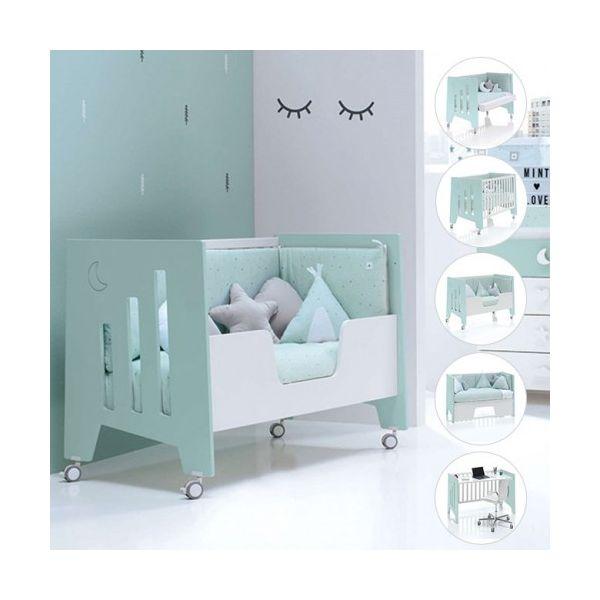 Alondra Berço para Cama (60 X 120 cm) Omni 5 em 1 Berço/cama/sofá/secretária Verde Mint Mate Verde Mint Mate