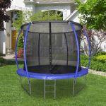 HomCom Trampolim ao Ar Livre para Adultos e Crianças 244cm de Diâmetro Azul - A71-011BU