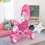 Homcom Triciclo para Crianças Dobrável com luz e música 102x48x96 cm Rosa - 370-093PK