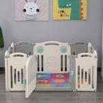 Parque Infantil para Bebés 6m+ com Porta dobrável 12 painéis Flexível 108x133x58 cm Cinza e Branco