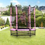Homcom Trampolim Infantil Com Rede De Proteção Porta Com Ziper Estrutura De Aço 140x140x162 Cm Rosa