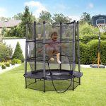 Homcom Trampolim Infantil Com Rede De Proteção Porta Com Ziper Estrutura De Aço 140x140x162 Cm Preto