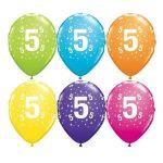 Qualatex Pack 6 Balões Impressos Aniversário nº 5 Tropical - 020017841