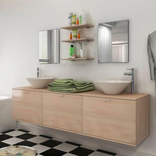 VidaXL Conjunto de 8 Móveis Casa de Banho e Conjunto Bacia Bege - 272234