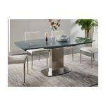 Vente Unique Mesa de Jantar Extensível Talicia Vidro Temperado e Metal 6 a 8 Lugares Cinzento