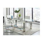 Vente Unique Mesa de Jantar Extensível Lubana Vidro Temperado e Metal 8 a 10 Lugares