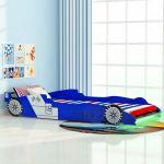 Cama Carro de Corrida LED para Crianças 90x200 cm Azul - 243937