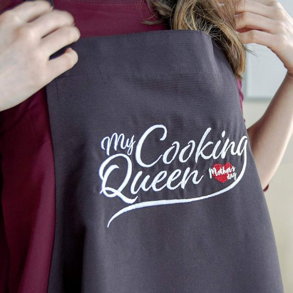 BESTGIFT Avental Dia da Mãe Bordado My Cooking Queen - 5263