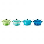 Le Creuset Conjunto de 4 Mini Cocottes Verde Azul Multicores