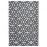 Esschert Design Tapete de Ext. Gráficos 180x121cm Cinzento/branco OC25