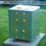 Nature Incinerador de Jardim Quadrado 46x46x65 cm Aço Galvanizado