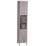 Kleankin Armário de Banheiro Alto com Prateleiras e Portas 30x32x172.5 cm
