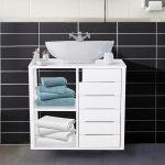 Kleankin Armário de Banheiro Baixo com Prateleiras e Armário 60x30x54 cm Branco