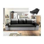 Vente Unique Sofá de 3 Lugares Convertível em Cama em Tecido Bicolor Preto e Cinzento Claro Gaby