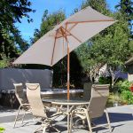 Outsunny Guarda-sol Parasol 200x150cm Madeira de Bambu para Jardim Pátio Praia Ângulo de Inclinação