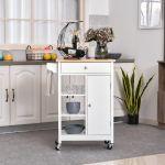 HomCom Carrinho de Cozinha com Prateleiras Abertas Branco 66x39,5x86,5cm