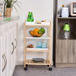 HomCom Carrinho de Cozinha de 4 Niveis com Bandeja Removível 40x30x76 cm Branco