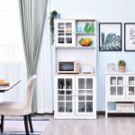HomCom Aparador Auxiliar de Cozinha com Amplo Espaço de Armazenamento Branco 80x37x183cm